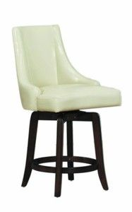 Homelegance 2479-24CRS Annabelle Cream Synthetic Leather Swivel 24-Inch Counter Bar Stool, Set of 2