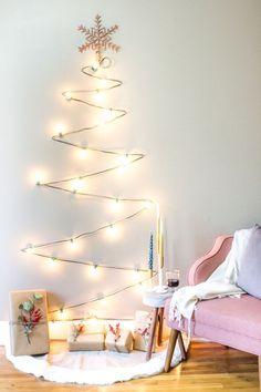 sapins de Noël gain de place mural guirlande lumineuse