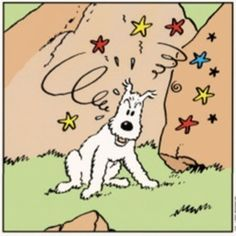 Tintin - Prisoners of the Sun - Snowy and the green lizard.