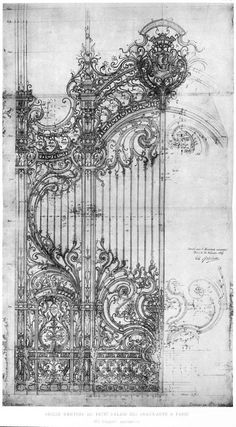 Architectural drawing - Girault's design for the cast iron door of the Petit Palais, Paris. A well done architectural drawing is very much a piece of art. Love looking at the masters working drawings. Art Nouveau, Art And Architecture, Architecture Details, Architecture Tattoo, Iron Doors, Iron Gates, Metal Doors, Art Drawings, Pencil Drawings