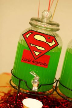 Can also do red kryptonite Superhero / superman party~Don't forget personalized to napkins to match your… Superman Birthday Party, Batman Party, 6th Birthday Parties, Superhero Superman, Superhero First Birthday, Superman Wedding, Baby Batman, Avengers Birthday, Ideas Para Fiestas