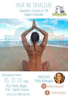 Flyer de divulgação de Aulas de Yoga pela instrutora Maitê Rodrigues.  Por: Carol Comoli  https://br.pinterest.com/carolcomoli/