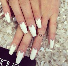 White Matte Coffin Nails