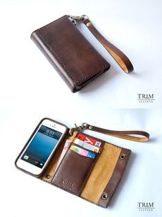 iPhone 5 leather wallet handmade with double snap buttons and hand strap.