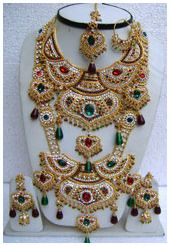 Maroon, Green and Off White Stone Studded Bridal Necklace Set