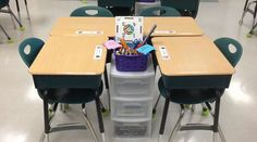 Workstations at the desk to reduce movement in the classroom. Love this seating  arrangement for cooperative learning teams!