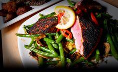 Blackened Ahi Tuna George's Grill 27 in Columbus, Ohio Eddie George, Jerome Bettis, Delicious Dishes, Tuna, Steak, Grilling, Restaurants, Columbus Ohio, Dinner