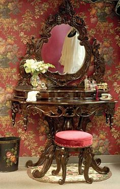"""Antique style """"Chateaux Bordeaux"""" dark wood vanity with mirror & matching stool from Victorian Trading Co."""