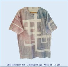 Fabric painting on t-shirt - Stencilling with tape - Albert's design No 3