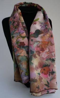 28407ecac06 foulard en soie crêpe de chine soie peint main foulard soie