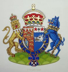 Arms of HRH The Duchess of Cornwall in gouache and gold on vellum - by Timothy Noad
