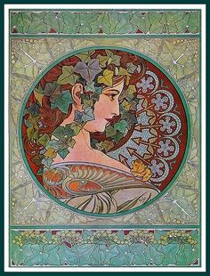 Art Nouveau poster by Mucha Ivy 1901