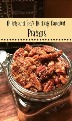 Toasted buttery candied pecans offer a healthy choice to a quick snack. Add them to a salad, give them as a gift, or eat them for there buttery goodness you are sure to enjoy. Candied Pecans Recipe, Roasted Pecans, Candied Nuts, Spiced Pecans, Pecan Recipes, Candy Recipes, Holiday Recipes, Appetizer Recipes, Snack Recipes
