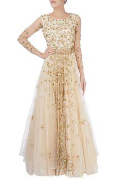 Beige sequin embellished lehenga