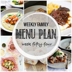Weekly Family Menu Plan, Week 54