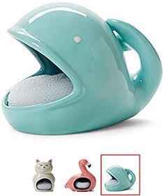 Kitchen Sponge Holder, Turquoise Kitchen Decor, Plastic Mesh, Cute Whales, Coastal Decor, Kitchen Sink, Countertop, Dish, Soap