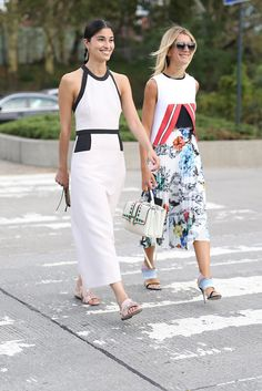 The right way to wear the Summer dress to work — just cover up those shoulders with a blazer or a button-down layered right under.