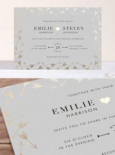 modern designed winter wedding invitations