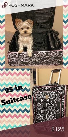 Jenni Chan 25in Suitcase Black and white damask print. Pink trim. Lots of inside room. Various compartments for all travel necessities. No holes or stains. Gently used. jenni chan Bags Travel Bags