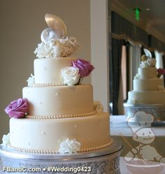"Design W 0423 | Ivory Fondant Wedding Cake |  14""+10""+6"" | Serves 125 | Large Pearl Bead Trim, Fresh flowers | Custom Quote"