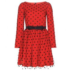 Saint Laurent Polka-Dot Dress (€3.960) ❤ liked on Polyvore featuring dresses, red, saint laurent, polka dot dress, yves saint laurent, dot dress, dot print dress and red dress