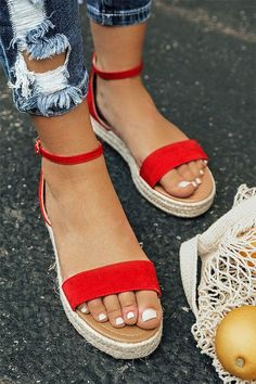 The Roslyn Espadrille in Red