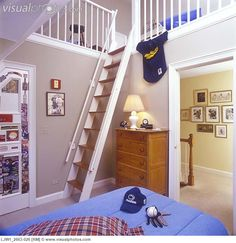 steep stairs go up to loft, smallest room in house.
