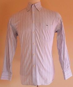 c00a12660 LACOSTE Shirt 40 MULTICOLOR Striped SZ Size BLUE Mens OXFORD Cotton GATOR  Logo**
