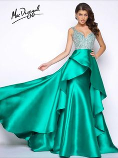 fd5d3ff15c54 Mac Duggal Prom Sleeveless, emerald, deep V-neck satin prom dress with  waterfall overskirt and jewel encrusted bodice and open back.