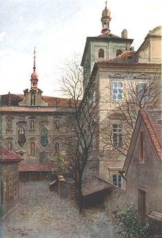 Nádvoří konviktu u sv. Bartoloměje. Málo známé zákoutí, přístupné průchodem z Konviktské ulice, ukrývá mj. bohatě zdobené průčelí kostela sv. Bartoloměje. Celý areál je nově zrekonstruován.