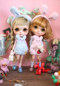 "Sweet bunny 1/6 12"" Blythe Pullip doll clothes outfit handmade Blythe doll outfit ooak dal azone"
