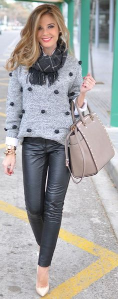 ❤️ Grey Long Sleeve Twisted Ball Sweater, Grey Tartan Scarf , Beige Studded Tote, Black Leather Skinny pants, White Heels