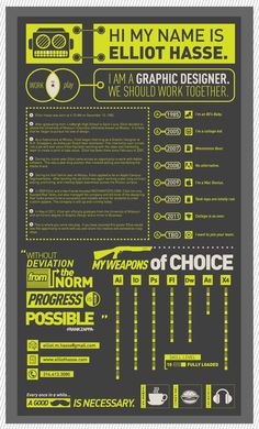 Graphic designer Elliot Hasse created this infographic resume in fall of 2010.  He wanted to create a resume that would stand out and go well with the rest of his self promotional work.