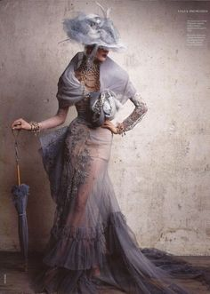 Olga Sherer inChristian Dior Couture,Fall 2005 by Patrick Demarchelier forVogue RussiaJune 2011