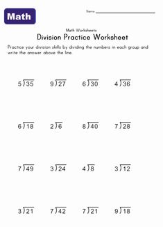 Simple division worksheets for parents and teachers to use with their kids. Help teach kids with the simple division problems in this collection of printable worksheets. Find lots of division worksheets and other math worksheets at Kids Learning Station. Free Printable Math Worksheets, 2nd Grade Math Worksheets, Multiplication Worksheets, Fractions Worksheets, Worksheets For Kids, Multiplying Fractions, 3rd Grade Division, Math Division, Division Worksheet