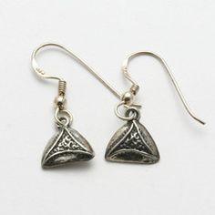 Sterling Silver Hamantashen Dangle Earrings Purim