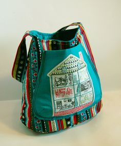 handmade bag with embroidery. $56