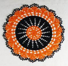 Stunning Crocheted Black Orange Halloween Fall Doily!  $15.00 #handmade #crochet #doily #orange #black #halloween #fall #autumn