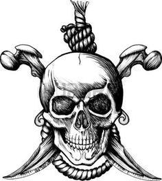 tatouage crane: Crâne de Rogger Jolly original avec deux couteaux, os et la corde pour la pendaison Illustration