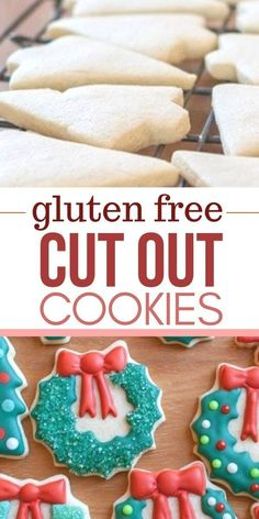 gluten free sugar cookies that were created to work perfectly as easy cut out co. gluten free sugar cookies that were created to work perfectly as easy cut out cookies as they remain soft yet still Dairy Free Sugar Cookies, Gluten Free Christmas Cookies, Dessert Sans Gluten, Gluten Free Sugar Cookies, Bon Dessert, Cut Out Sugar Cookies, Gluten Free Christmas Recipes, Gluten Free Cookie Cake Recipe, Sugar Free Christmas Baking