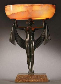Pre Art Deco Bronze and Onyx Table Lamp, the oval onyx shade supported atop a standing nude female figure with Egyptian headdress and drape, set atop a cantered rectangular marble basin, inscribed signature Fanny Rozet (French, 1881-1921), overall ht. 17 3/4 in.
