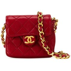 Chanel Vintage Mini Quilted Crossbody Bag ($2,981) ❤ liked on Polyvore featuring bags, handbags, shoulder bags, red, mini crossbody purse, quilted crossbody, quilted chain shoulder bag, red purse and vintage shoulder bag