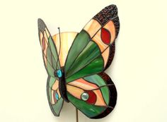 12 Tiffany Style Butterfly Sconce Lamp. Hand by AmberGlassArt, $105.00