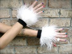 CLouD NiNe FLuffy CUFFS Faux Fur Wrist Cuffs by phunkyphashions