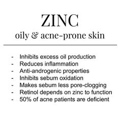 of people who have acne are deficient in zinc. pumpkin seeds oysters cashews and beans have lots. Make sure yo. Beauty Care, Beauty Skin, Beauty Tips, Healthy Skin Tips, Face Skin Care, Facial Care, Acne Prone Skin, Skin Treatments, Natural Skin Care