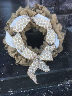 A personal favorite from my Etsy shop https://www.etsy.com/ca/listing/527560874/rustic-burlap-wreath-with-bow-chevron