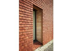 Detail showing loally-sourced sweet chestnut cladding alongside hand-made ceramic tiles. External Cladding, Timber Cladding, Kent Farm, Sweet Chestnut, Village People, Clay Tiles, Tall Cabinet Storage, Exterior, Detail