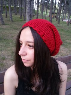 #hats for women Bold Red Knit Hat Wool Hat Beanie Red Winter Hat Slouchy
