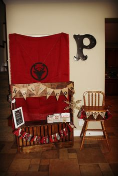 lumberjack first birthday party party dcor decorations plaid hot cocoa stand made out of crates at
