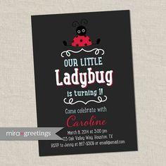 Ladybug Birthday Party Invitations - Lady Bug Birthday Party Invites - First baby birthday (Printable Digital File) on Etsy, $15.00